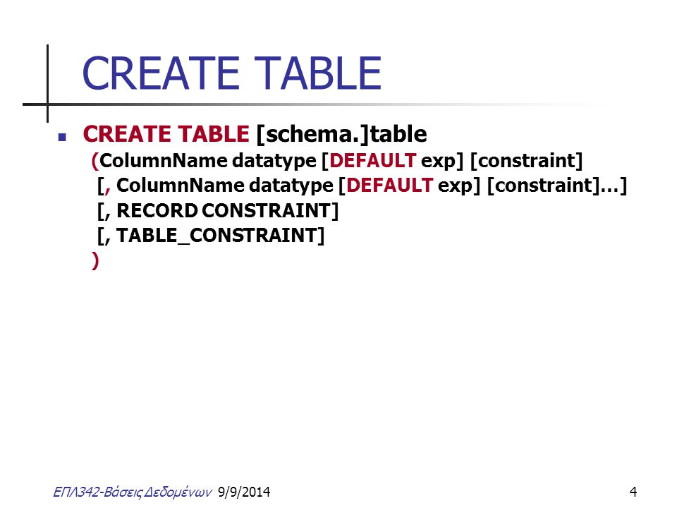 CREATE TABLE CREATE TABLE [schema.]table
